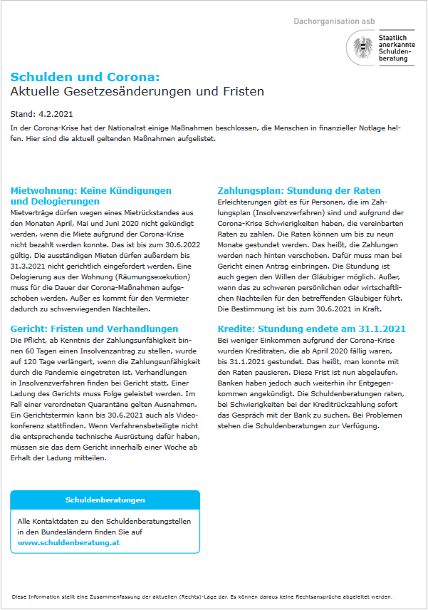 Infoblatt Schulden und Corona: Aktuelle Gesetzesänderungen und Fristen 4.2.2021