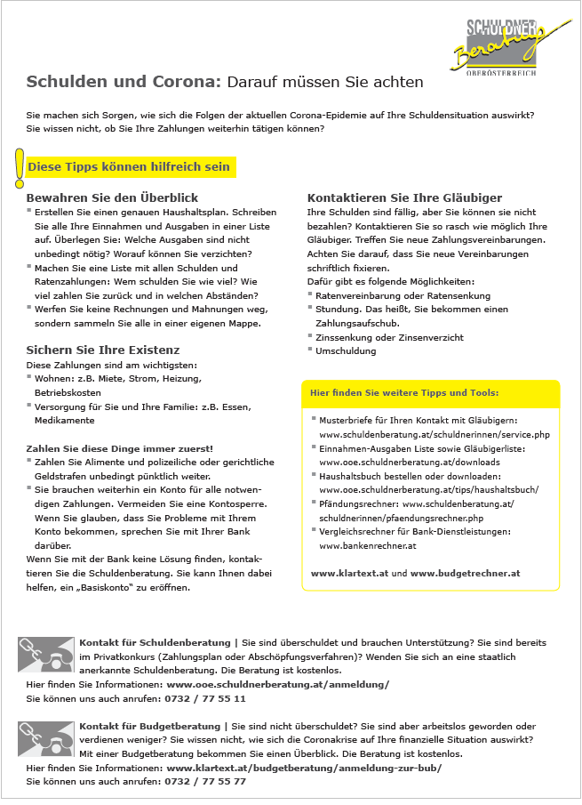 Infoblatt Schulden und Corona